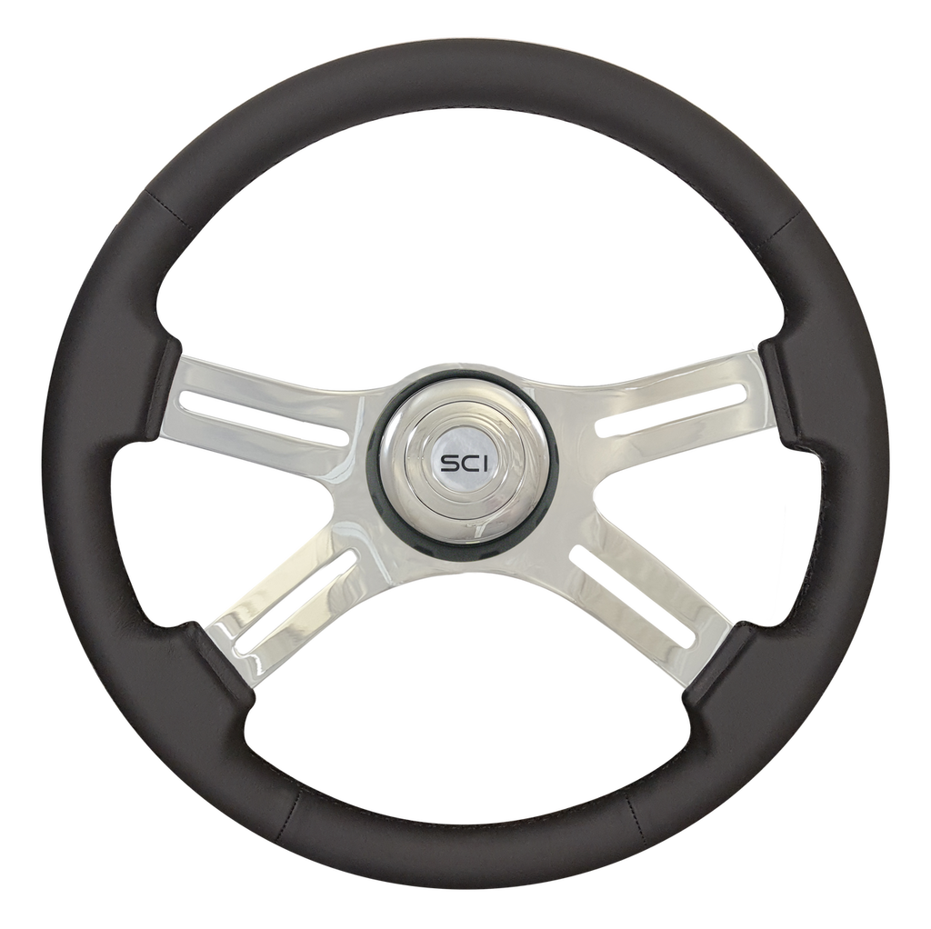 "Classic Poly - 18"" Polyurethane Rim, Chrome,  Black Textured Bezel"
