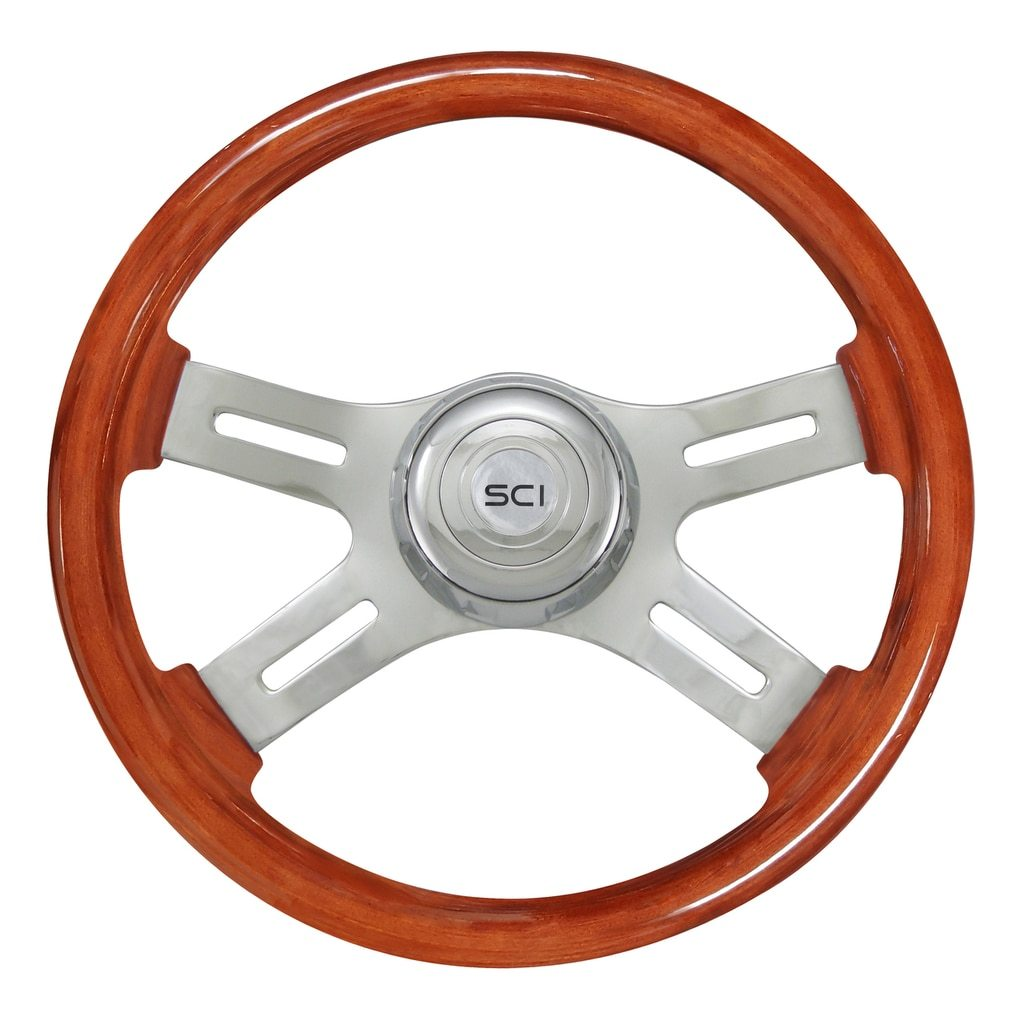 "16"" Classic Mahogany - 16"" Wood Rim, Chrome Bezel, Chrome Horn Button"