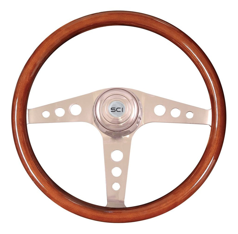 "Racer Mahogany - 18"" Wood Rim, Chrome"