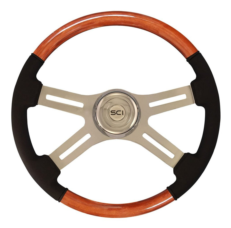 "Classic Combo - 18"" Wood & Leather Rim, Chrome"