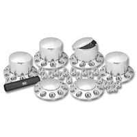 Chrome Plastic ABS Front & Rear Hub Cover Kit with Removeable Hubcap & Threaded Nut Covers