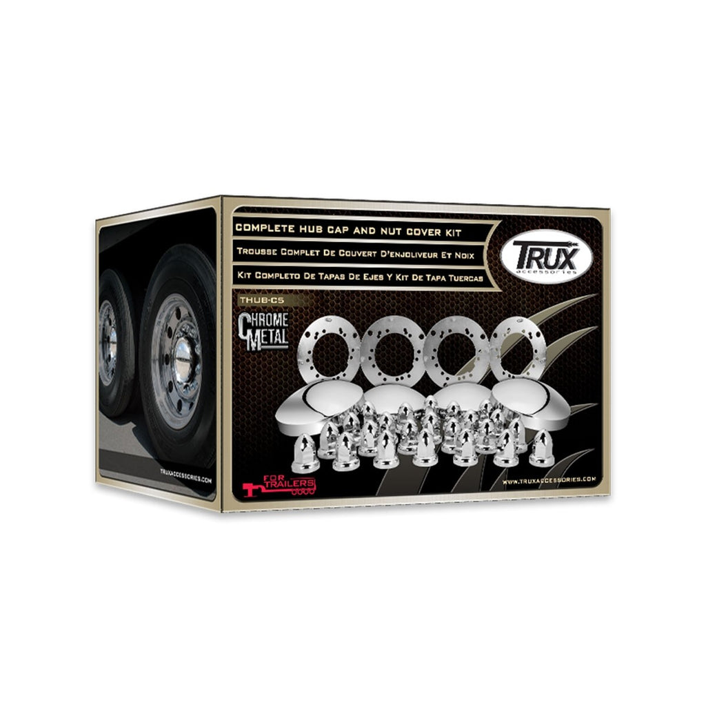 Trailer 2 axle Kit (4 wheels) Chrome Metal, 33mm, Push On
