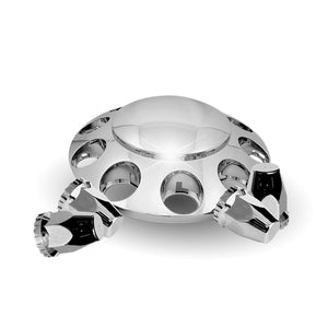 Rounded, Threaded - Chrome Plastic ABS Front Hub Cover with Removeable Hubcap & 10 x 33mm Threaded Nut Covers
