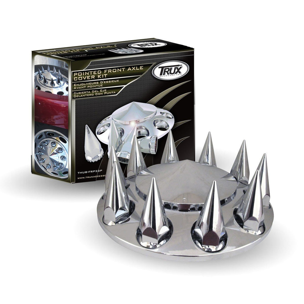Pointed, Threaded - Chrome Plastic ABS Front Hub Cover with Removeable Hubcap 33mm Threaded Pointed Nut Covers