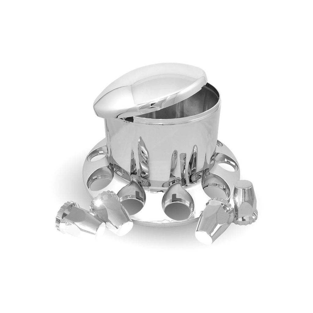 Rounded, Threaded - Chrome Plastic ABS Rear Hub Cover with Removeable Hubcap & 10 x 33mm Threaded Nut Covers