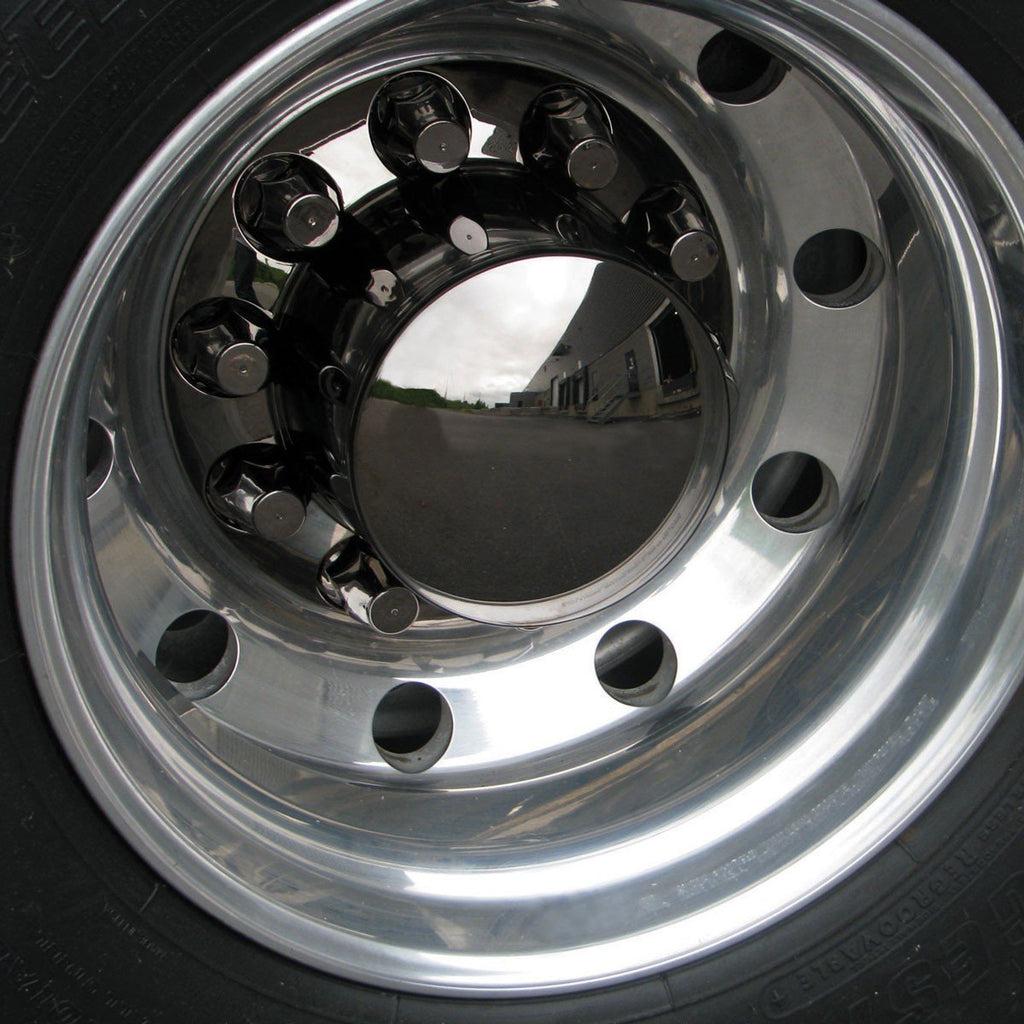 Black Chrome Plastic ABS Rear Hub Cover with Removeable Hubcap & 10 x 33mm Threaded Nut Covers
