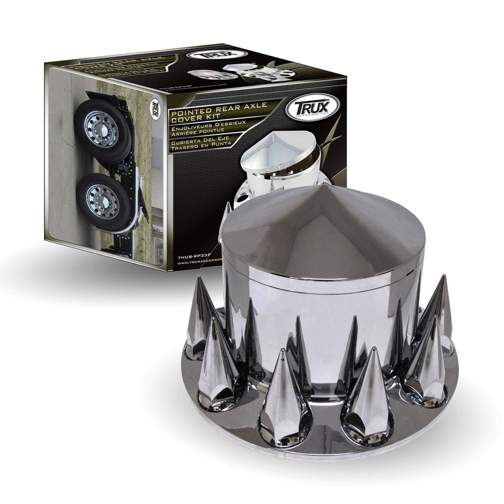 Pointed, Threaded - Chrome Plastic ABS Rear Hub Cover with Removeable Hubcap & 10 x 33mm Threaded Pointed Nut Covers