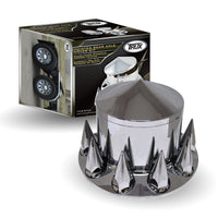 Chrome Plastic ABS Rear Hub Cover with Removeable Hubcap & 10 x 33mm Threaded Pointed Nut Covers