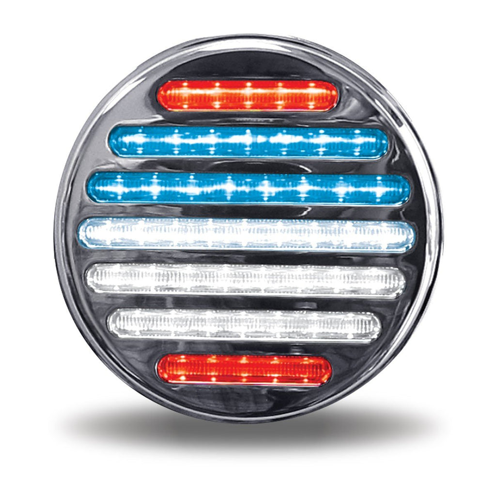 "4"" Dual Flatline Red/Red-White-Blue USA Stop, Turn & Tail LED (49 Diodes) 12v"