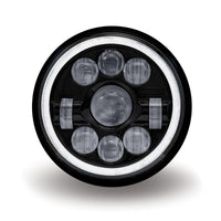 "7"" Round LED Projector Headlight - Black with White Halo (1320 Lumens)"