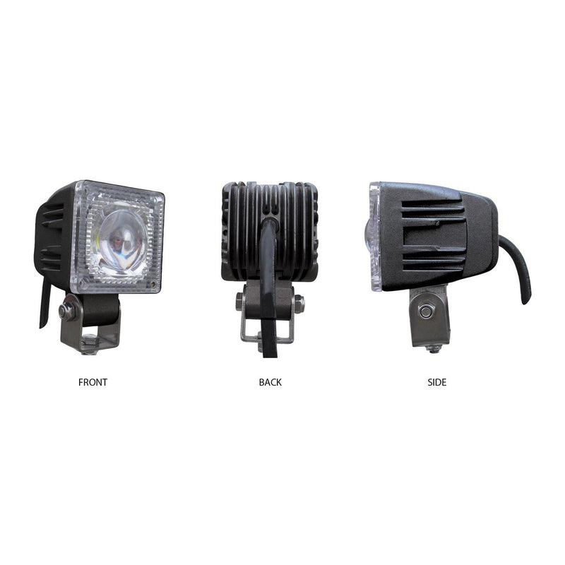 Universal White Small Square Work Light - Clear Lens - Black Housing (1 Diode) - 1200 Lumens