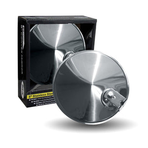 "8"" CONVEX STAINLESS STEEL MIRROR WITH OFFSET MOUNTING BRACKETS"