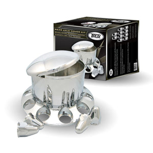 Chrome Plastic ABS Rear Hub Cover with Removeable Hubcap & 10 x 33mm Threaded Nut Covers