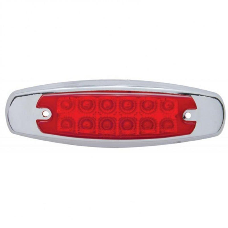 LED (12) PB STYLE MARKER LIGHT w/REFLECTOR  RED/RED LENS