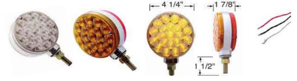 LED (21/21) ROUND Double Face AMBER BUBBLE LENS  w/AMBER Lights  (Stud Mount 3 wires)