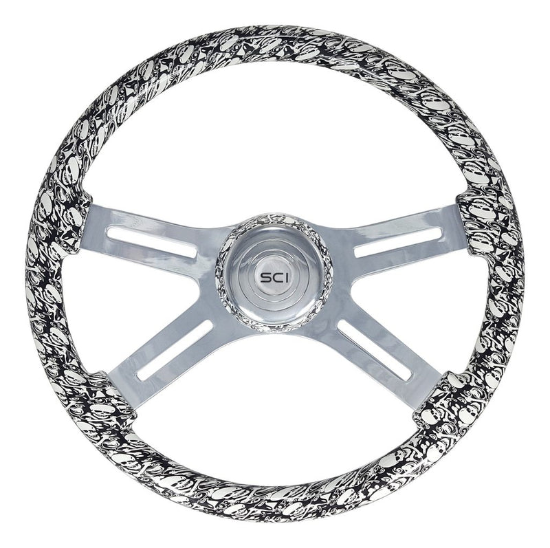 "Skulls White - 18"" Printed Wood Rim, Chrome"