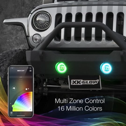"4"" Black RGB LED Jeep Wrangler Fog Light XKchrome Bluetooth App Controlled Kit"