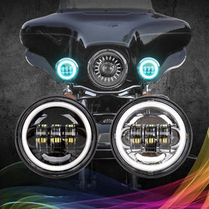 "4.5"" Black RGB LED Harley Running Light XKchrome Bluetooth App Controlled Kit"