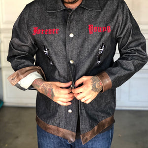 """Forever Young"" denim and mocha leather jacket"