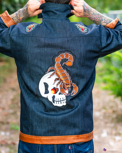 Calaveras & scorpions denim & congac leather jacket