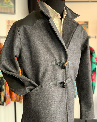 Charcoal gray 3/4 coat with leather