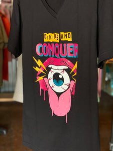 Divide & Conquer vneck giant lips eating eyeball
