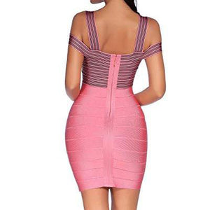 Rayon Strap V-Neck Bandage Bodycon Party Dress