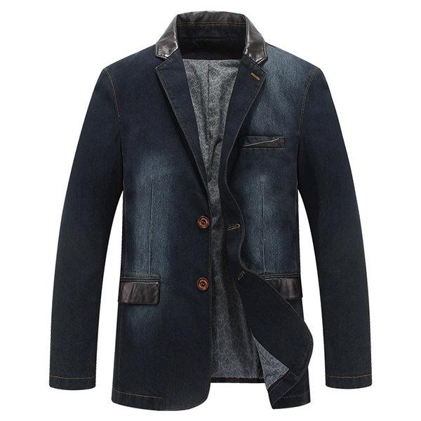 Doriry Men Casual Outdoor Jackets Stylish Suits Stitching Denim Blazers