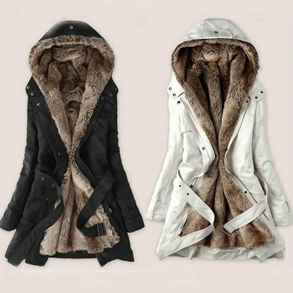 Women Winter Fur Padded  Long-sleeved Hooded Jacket