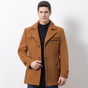 Pure Color Wool Men Long-sleeved Coats