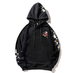 Embroidery Plum Flowers Bird Hoodies