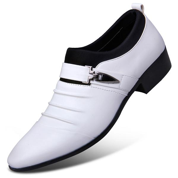 Men Oxford Leather  Slip on Solid Buckle Wedding Shoes