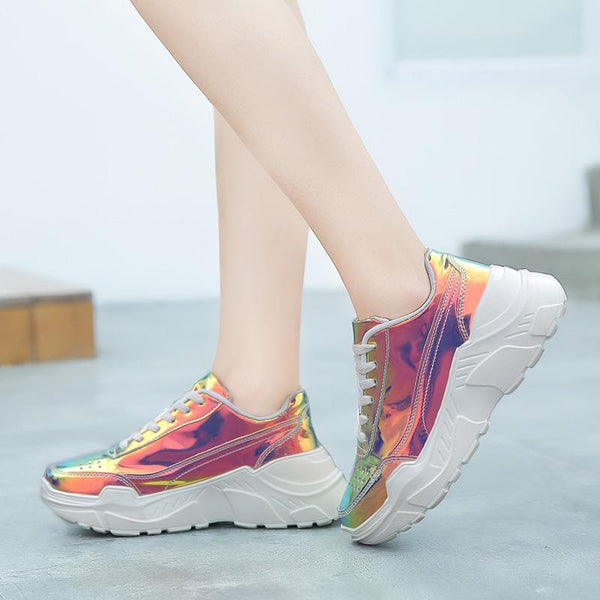 Colorful women's fashion patent leather platform sneakers