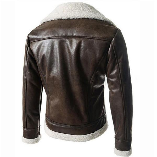 Winter Warm Mens Fur Liner Lapel Coat  Leather Jacket