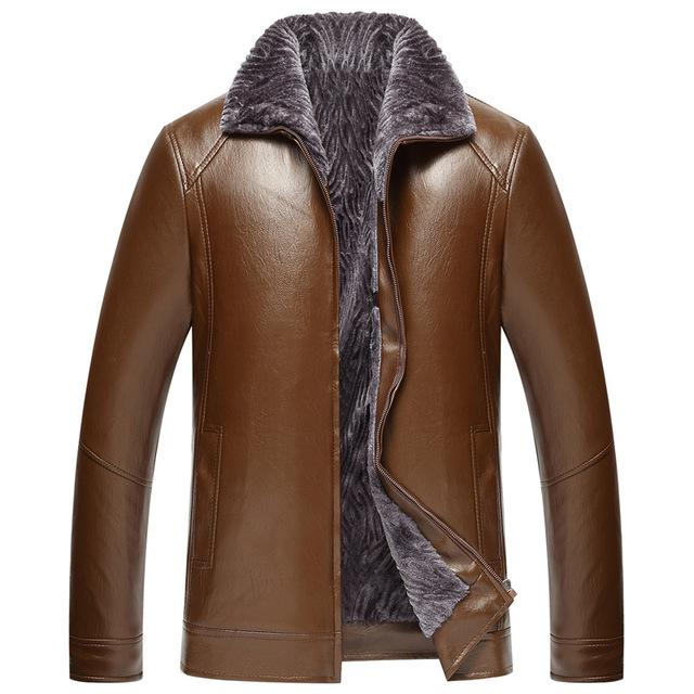 L-4XL Size Men's Genuine Winter Fur Leather Jacket