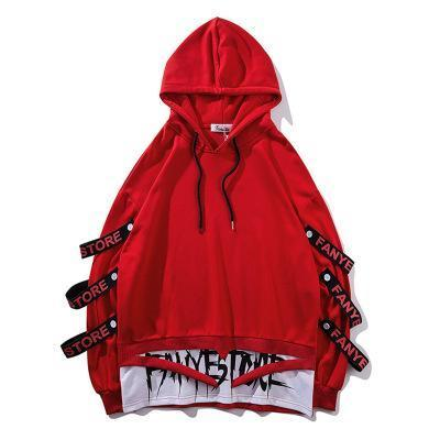 Fake 2 Pieces Ribbons Hoodie