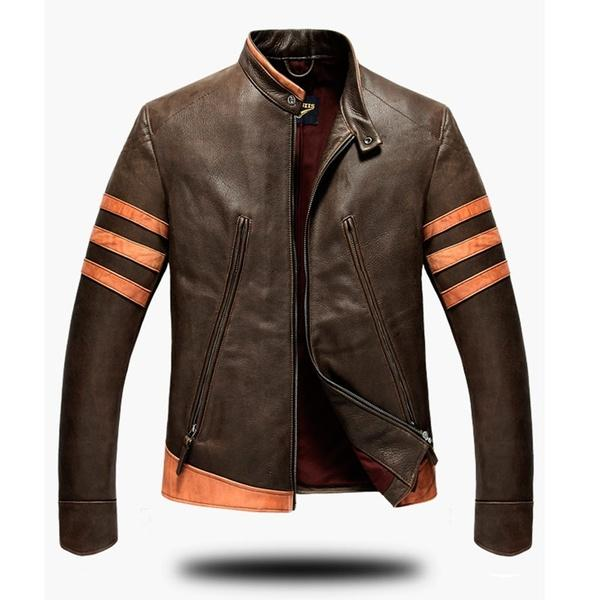 Large Size Fashion Men 's Leather Personality Motorcycle Jacket