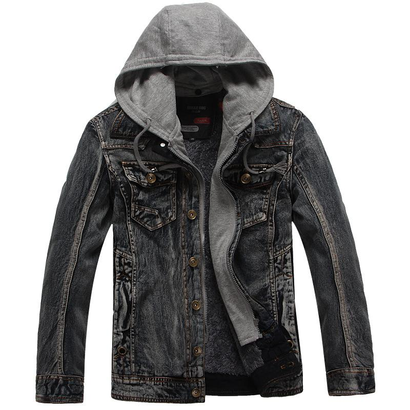 Doriry Men's Winter Warm Denim Hooded Coat