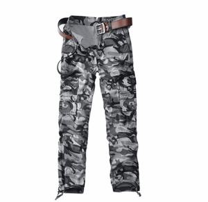 Wholesale men's casual cargo pants military camo trousers solid size loose style multi pockets