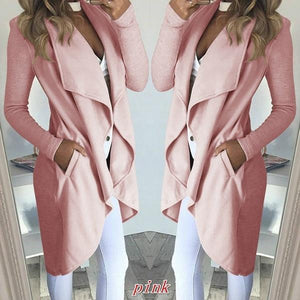 6 Colors Plus Size Women New Fashion Long Sleeve Solid Color Loose Overcoat S-5XL