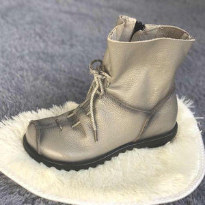 Autumn Women Vintage Classic Genuine Leather Martin Boots