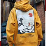 Japanese Embroidery Cat-Wave Printed Fleece Hoodies
