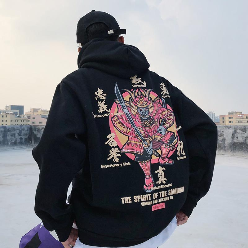 Japanese Samurai Printed Fleece Hoodies