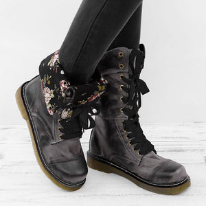 Doriry Womens Vintage Chunky Heel Lace-up Artificial Leather Daily Boots