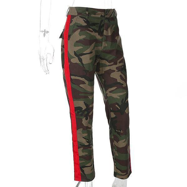 Red Side Striped Camouflage Cargo Pants