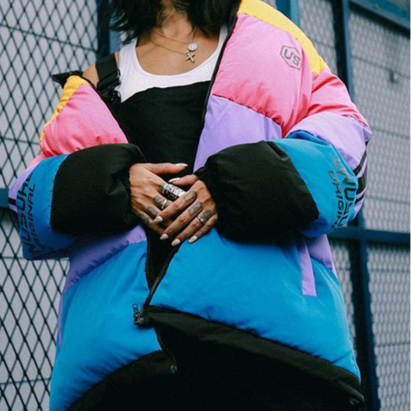 Rainbow Color Block Thick Coats