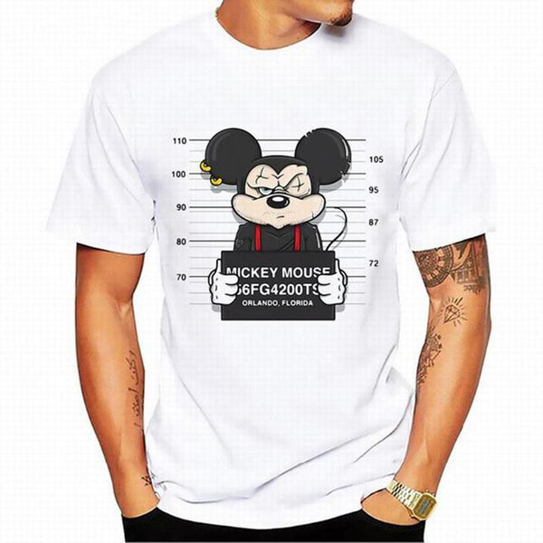 New Mickey Print Men's Hip Hop Casual Cartoon T-Shirt
