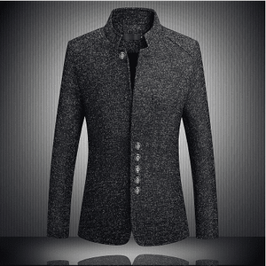 New Style Business Casual Stand Collar Male Blazer Slim Fit Mens Blazer Jacket