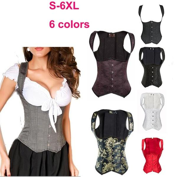 Gray Boned Waist Training Corsets