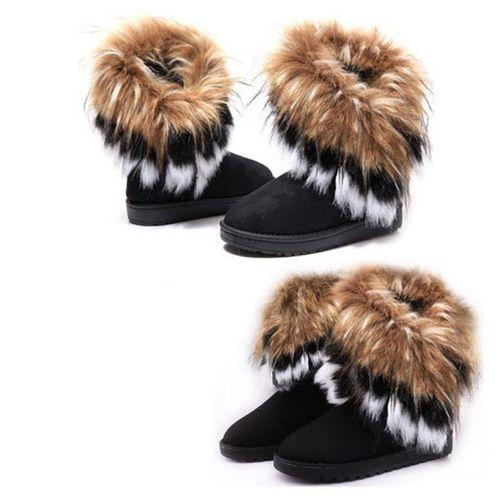 Comfortable Imitation Fox Fur Warm Snow Boots